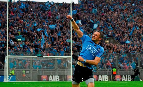 Dublin's Alan Brogan celebrates in front of Hill 16 after the All-Ireland final victory in September. Picture credit: Brendan Moran / SPORTSFILE
