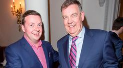 Oliver Callan pictured with Brian Dobson at the launch of his DVD at The Hibernian Club, St. Stephen's Green tonight. Photo: Colin O'Riordan