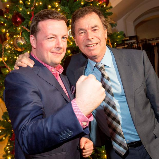 Oliver Callan pictured with Alan Shatter at the launch of his DVD at The Hibernian Club, St. Stephen's Green tonight. Photo: Colin O'Riordan