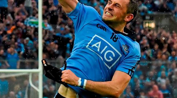 Alan Brogan celebrates after winning his third All Ireland medal following Dublin's victory over Kerry in September