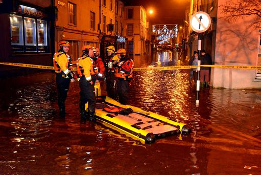 Members of the Cork West Civil Defence who rescued motorists from floods in Bandon last week. Photo: Denis Boyle
