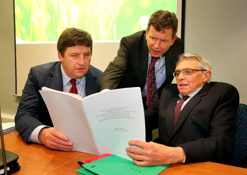 IFA deputy president Tim O'Leary with acting general secretary Bryan Barry and former IFA economist Con Lucey at Farm Centre in Dublin.