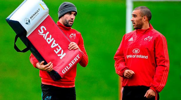 Munster's Conor Murray and Simon Zebo in conversation during squad training. Munster Rugby Squad Training & Press Conference. Limerick. Picture credit: Diarmuid Greene / SPORTSFILE