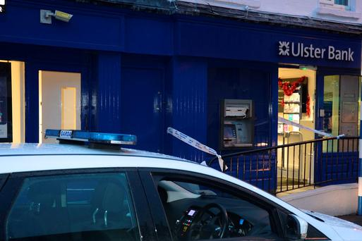 The scene of a suspected attempted robbery at the Ulster Bank ATM in Celbridge Co.Kildare. Pic: Justin Farrelly.