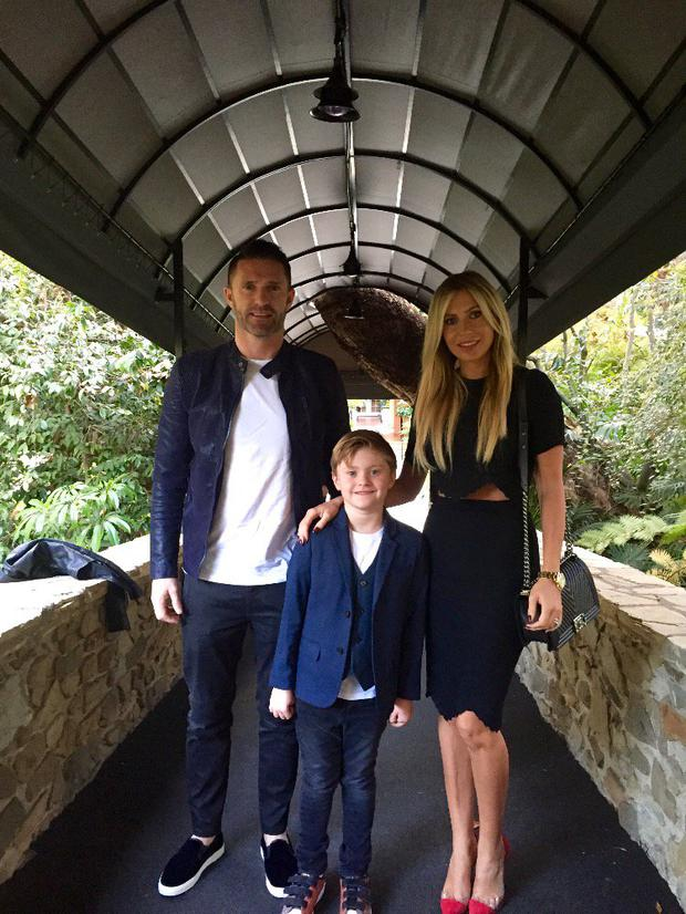 Claudine and Robbie Keane with their son Robert in Los Angeles