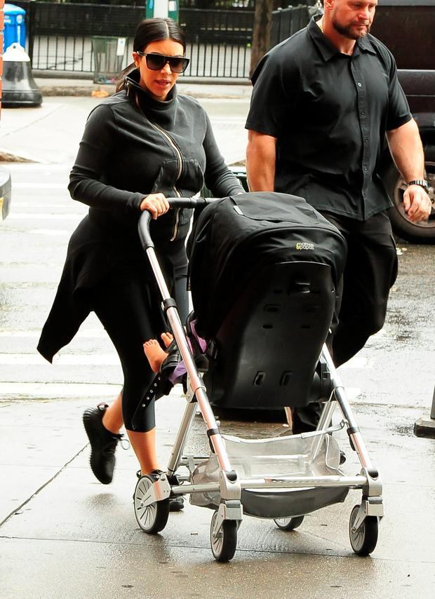 Kim Kardashian is seen walking North West to the GYM in New York