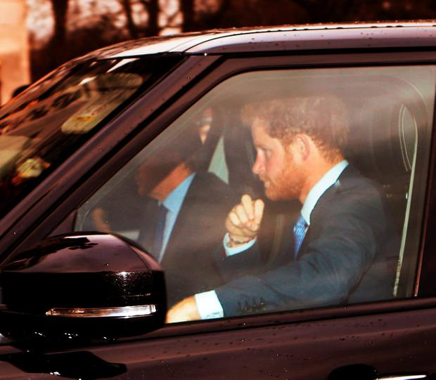Prince Harry arrives for the Queen's Christmas lunch at Buckingham Palace, London. Picture: Daniel Leal-Olivas/PA Wire