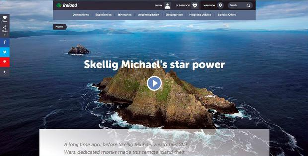 December 2015 – This week's release of Star Wars: The Force Awakens – which features Skellig Michael – presents Tourism Ireland with a unique opportunity to highlight the South West and Ireland in 2016, it says.