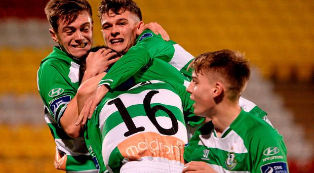 Darren Quinn, Shamrock Rovers, celebrates with team mates after scoring his side's first goal. Photo: Sam Barnes/SPORTSFILE