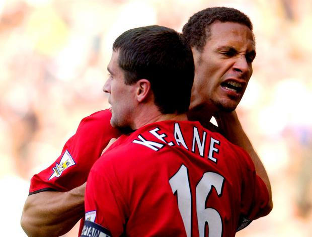 Rio Ferdinand salutes his former Manchester United team-mate Roy Keane