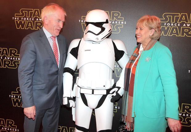 Pictured at the Irish premier of 'Star Wars: The Force Awakens' at Savoy Cinema are Minister of State for the Diaspora Jimmy Deenihan TD and Minister for Arts, Heritage and the Gaeltacht Heather Humphreys TD. Photo: RollingNews.ie