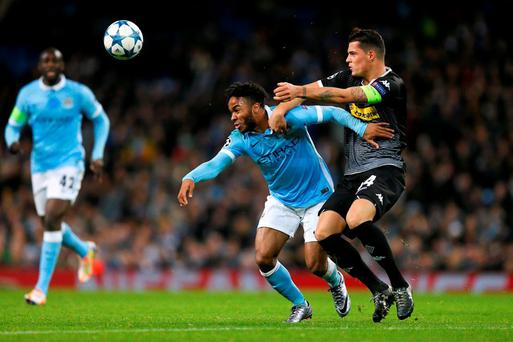 Manchester City's Raheem Sterling in action Borussia Monchengladbach's Granit Xhaka last week