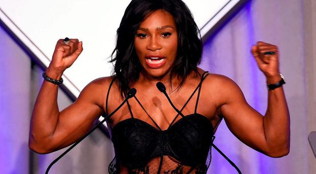 US Tennis player Serena Williams speaks after receiving the Sports Illustrated Sportsperson of the Year trophy during a ceremony in New York