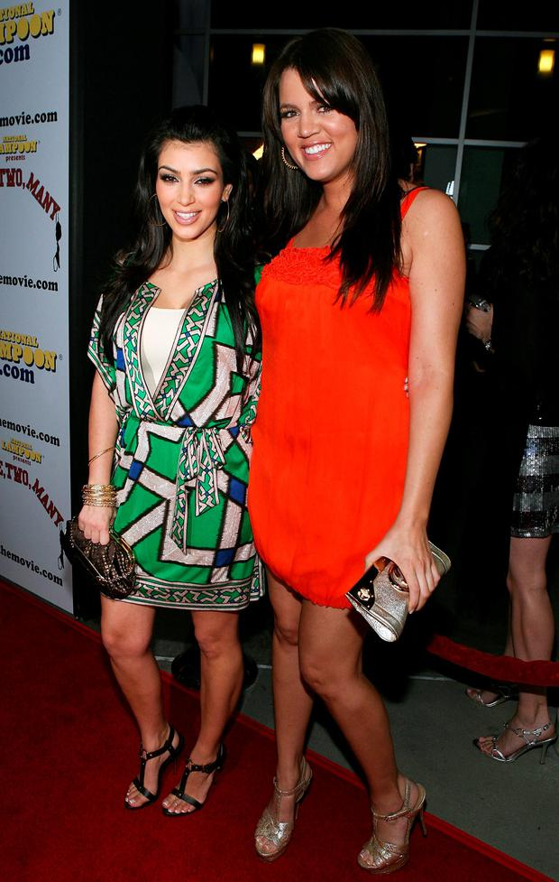 April 2008: TV personality Kim Kardashian and Khloe Kardashian arrive at the National Lampoon Premiere of