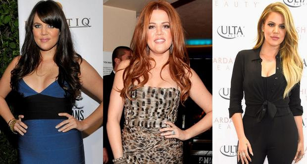 Khloe Kardashian in 2008, 2011 and 2015
