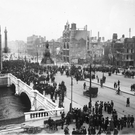O'Connell Bridge and Sackville (O'Connell) St, showing the aftermath of the 1916 Rising. Photo: Independent Newspapers