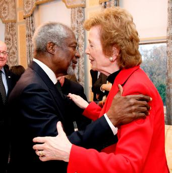 Pic shows ( l to r) Kofi Annan, Former United Nations Secretary-General and Mary Robinson, United Nations Special Envoy of the Secretary-General on Climate Change. Photo: Maxwells