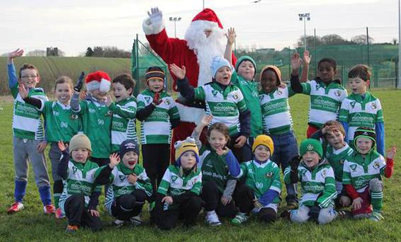 Youngsters meet Santa at the fifth annual North East Leinster Rugby Santa Blitz at Balbriggan RFC