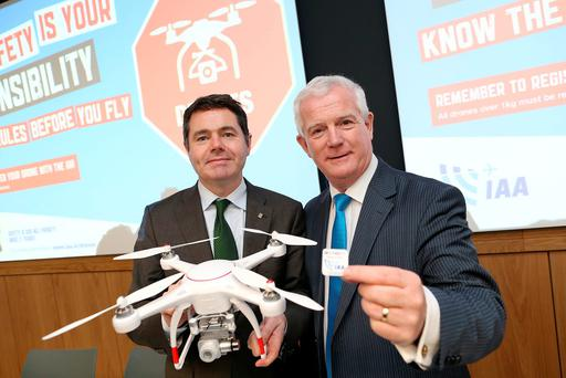 Transport Minister Paschal Donohoe with Ralph James of the IAA at the launch of new drone regulations. Photo: Maxwells