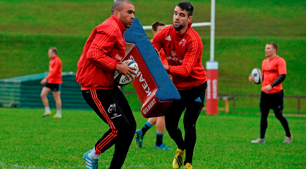 Simon Zebo and Conor Murray go through their paces during a Munster training session in Limerick this week (Sportsfile)