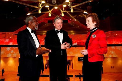 Former United Nations Secretary General Kofi Annan, Business and Finance president Ian Hyland, and former President Mary Robinson, who won the Outstanding Contribution to Ireland award. Photo: Conor McCabe