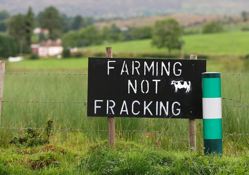 Anti-fracking signs posted on a farm outside Manorhamilton, in Leitrim. Photo: Frank McGrath