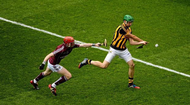 Kilkenny's Shane Prendergast in action against Galway's Conor Whelan. Picture: Dáire Brennan / SPORTSFILE