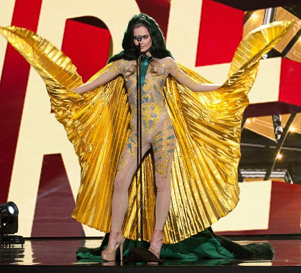 Joanna Cooper, Miss Ireland 2015 debuts her National Costume on stage at Planet Hollywood Resort & Casino. Picture: The Miss Universe Organization