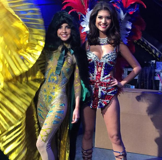 Miss Ireland Joanna Cooper and Miss Colombia in their national costumes at Miss Universe