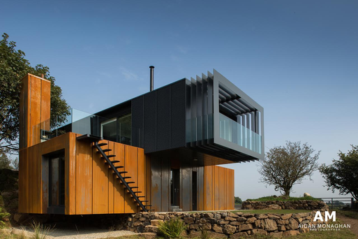 The famous BAFTA award winning Grand Designs shipping container 'Grillagh Water' House. Photo: Aidan Monaghan