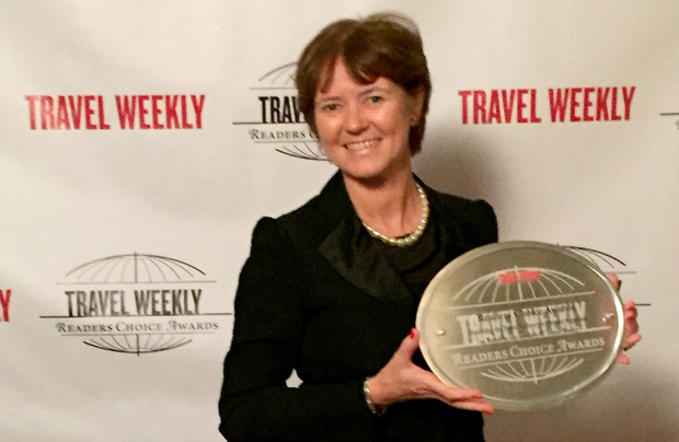 """Alison Metcalfe, Tourism Ireland's head of North America, accepted the """"best destination: Europe"""" award for Ireland, at the Travel Weekly Readers Choice Awards in New York."""