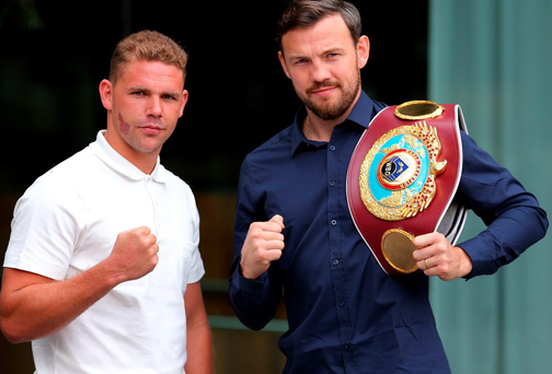 Champion Andy Lee and Billy Joe Saunders both made weight for their WBO Middleweight Championship title . (Photo by Dave Thompson/Getty Images)