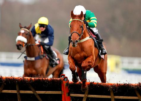 Barry Geraghty and Yanworth clear the last on the way to winning the two-mile novice hurdle at Ascot. Photo: Getty Images