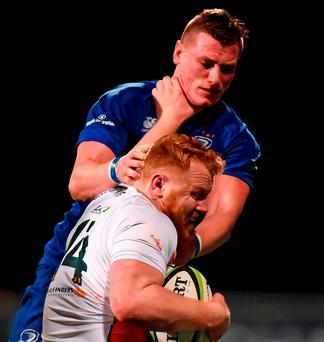 Leinster A's Gavin Thornbury faces up to four months out after surgery on a torn pectoral muscle. Photo: Sportsfile