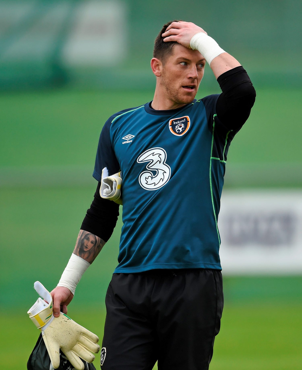 9 October 2014; Republic of Ireland's Keiren Westwood during squad training ahead of their UEFA EURO 2016 Championship Qualifer, Group D, game against Gibraltar on Saturday. Republic of Ireland Squad Training, Gannon Park, Malahide, Co. Dublin. Picture credit: Stephen McCarthy / SPORTSFILE