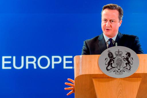 British Prime Minister David Cameron addresses the media after an EU summit in Brussels. Photo: AP