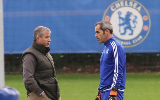 PICS SHOWS;Chelsea Training today at Cobham Training Ground in Surrey Players Training Being watched By The Owner Roman Abramovich.