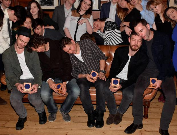 Johnny McDaid and his band Snow Patrol (Paul Wilson, Gary Lightbody, Jonny Quinn, Nathan Connolly, Johnny McDaid) were honoured today with the Gold Medal of Honorary Patronage from Trinity College's Philosophical Society, Trinity College, Dublin, Ireland - 18.12.15. Pictures: Cathal Burke / VIPIRELAND.COM