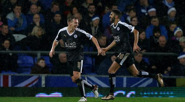Leicester City's Riyad Mahrez celebrates his second goal during the Barclays Premier League match at Goodison Park, Liverpool. PRESS ASSOCIATION Photo. Picture date: Saturday December 19, 2015. See PA story SOCCER Everton. Photo credit should read: Peter Byrne/PA Wire. RESTRICTIONS: EDITORIAL USE ONLY No use with unauthorised audio, video, data, fixture lists, club/league logos or