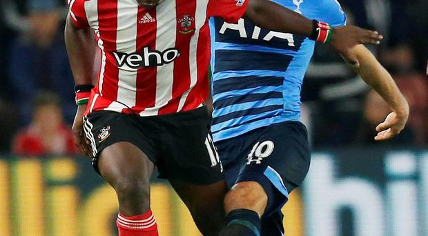 Tottenham's Harry Kane competes for possession with Southampton's Victor Wanyama. Photo: Cathal McNaughton/Reuters