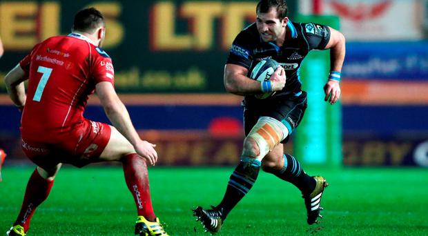 LLANELLI, WALES - DECEMBER 19: Fraser Brown of Glasgow charges at Jack Condy of Scarlets during the European Rugby Champions Cup match between Scarlets and Glasgow at the Parc y Scarlets on December 19, 2015 in Llanelli, Wales. (Photo by David Jones/Getty Images)