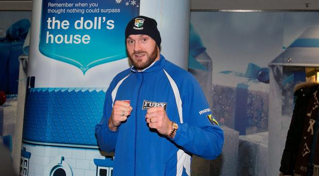 Tyson Fury during homecoming scenes at Dublin Airport, Dublin. Photo: gareth chaney Collins
