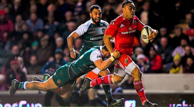 Francis Saili, Munster, is tackled by Peter Betham, Leicester Tigers. European Rugby Champions Cup, Pool 4, Round 4, Leicester Tigers v Munster. Welford Road, Leicester, England. Picture credit: Ramsey Cardy / SPORTSFILE