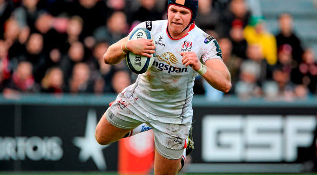 Luke Marshall dives over to scores Ulster's third try against Toulouse. Picture credit: Oliver McVeigh / SPORTSFILE