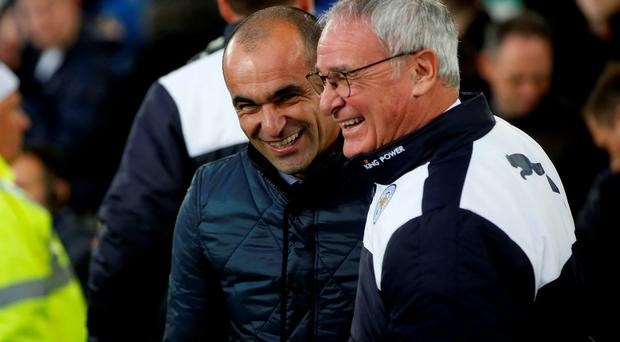 Everton boss Roberto Martinez with Leicester manager Claudio Ranieri. Photo: Peter Byrne/PA Wire