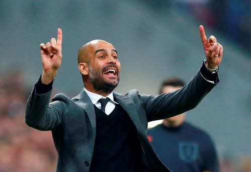 Guardiola has a good relationship with the former Barcelona executives Ferran Soriano and Txiki Begiristain who are now chief executive and director of football at City. Photo: AP Photo/Matthias Schrader