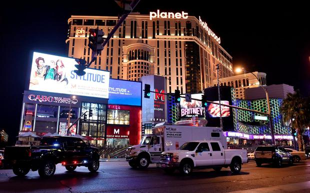 Las Vegas police investigate following a traffic accident in front of the Planet Hollywood Hotel in Las Vegas, Nevada, near the hotel and casino where the Miss Universe pageant was being held, December 20, 2015