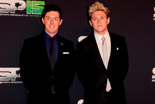 Rory Mcilroy and Niall Horan on the red carpet before the BBC Sports Personality of the Year award at Odyssey Arena on December 20, 2015 in Belfast, Northern Ireland. (Photo by Carrie Davenport/Getty Images)
