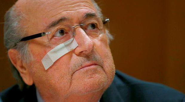 FIFA's suspended president Sepp Blatter holds a news conference in Zurich