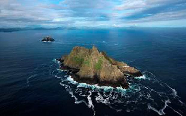 Spectacular aerial view of Skellig Michael and Little Skellig. The island lighthouse on Skellig Micheal was built in 1826.